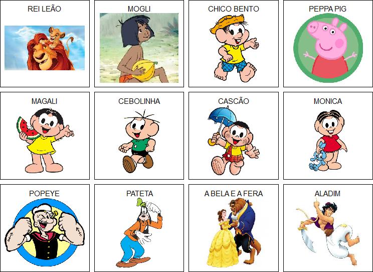 Inclusao Fichas Com Personagens De Desenhos Infantis